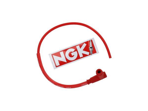 Set: Rennkerzenstecker NGK SPORT mit Kabel in Rot - Simson S50, S51, KR51 Schwalbe u.a. - MZ ES, TS, ETS, ETZ,  10001811 - Bild 1