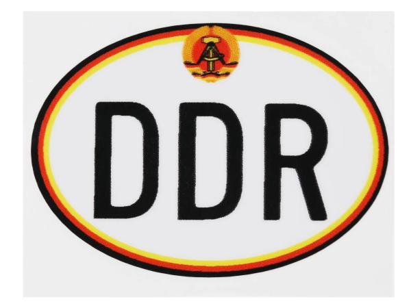 """Aufkleber - """"DDR"""" klein, mit Hammer und Zirkel, Oval,  10065282 - Bild 1"""