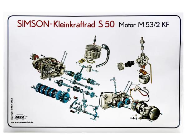 Explosionsdarstellung Farbposter Simson S50 Motor M53/2KF,  10007837 - Bild 1