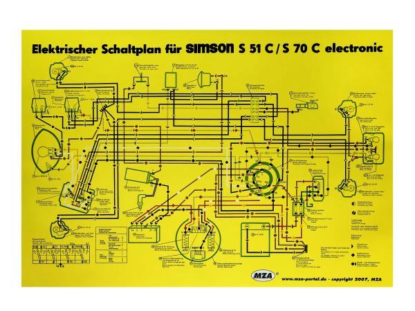 Schaltplan Farbposter (35x50cm) Simson S51, S70 C 6V elektronic,  10005649 - Bild 1