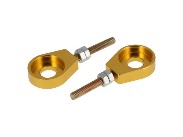 Set: 2x Kettenspanner für Schwinge, Aluminium Gold eloxiert - Simson S51, S50, SR50, Schwalbe KR51, SR4,  10069431 - Bild 1