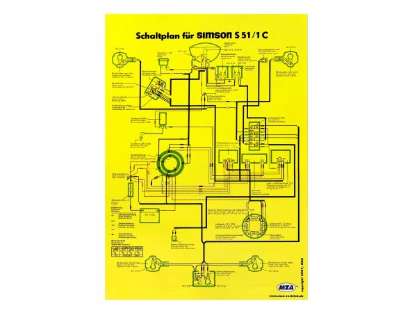 Schaltplan Farbposter (40x60cm) Simson S51/1C,  10005644 - Bild 1