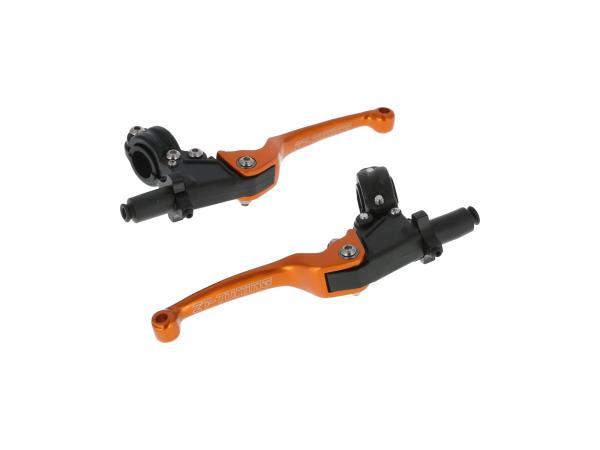 Set: Brems- und Kupplungsarmatur mit Klapphebel Racing Orange/Gold,  10068820 - Bild 1
