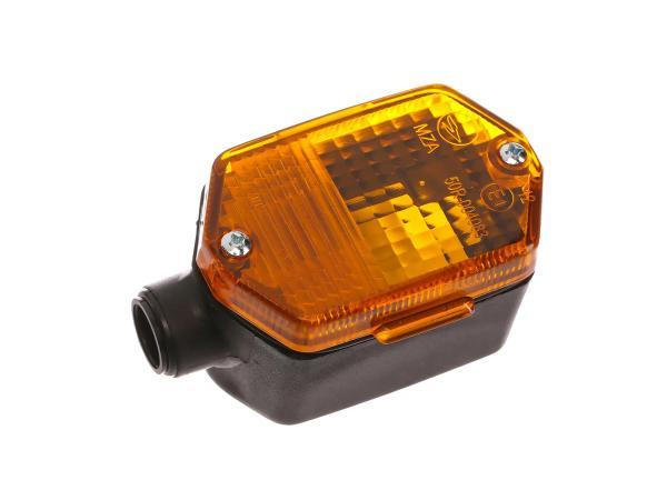 Blinker 6-eckig in Schwarz mit orangenem Glas - Simson S53, S83, SR50, SR80, MZ ETZ,  10001586 - Bild 1