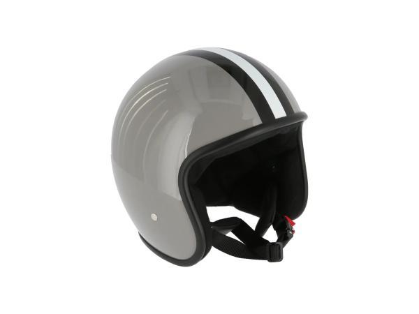"""ARC Helm """"Modell A-611"""" Retrolook - Grau mit Streifen,  10071228 - Bild 1"""