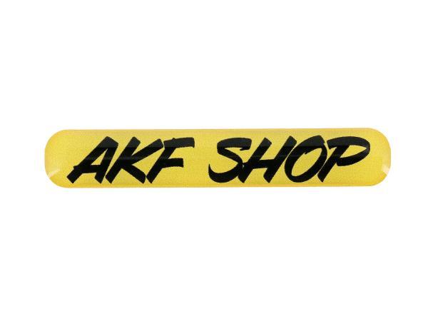 """10070484 Gelaufkleber - """"AKF Shop"""" gelb/schwarz - Bild 1"""