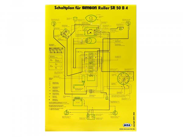 Schaltplan Farbposter (40x60cm) Simson SR50 B4 6V,  10005646 - Bild 1