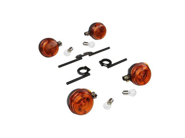 Set: 4 Blinker rund komplett, + 12V Lampen und Blinkerträger schwarz - für Simson S50, S51, S70,  GP10000498 - Bild 1