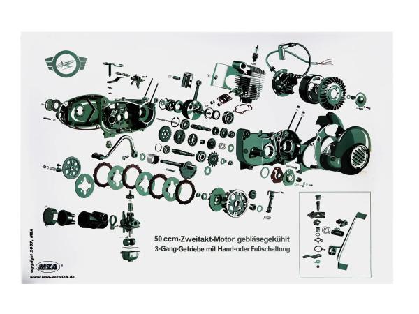 Explosionsdarstellung Farbposter Simson Schwalbe KR51/1, Star SR4-2, 50ccm Zweitakt-Motor, 3 Gang,  10007842 - Bild 1