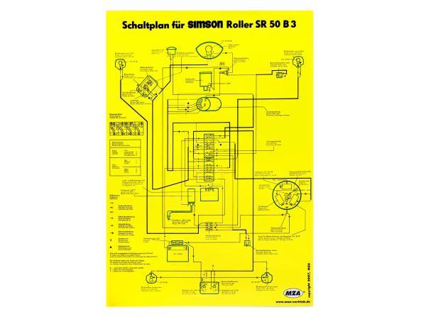 Schaltplan Farbposter (40x57cm) Simson SR50 B3,  10007841 - Bild 1