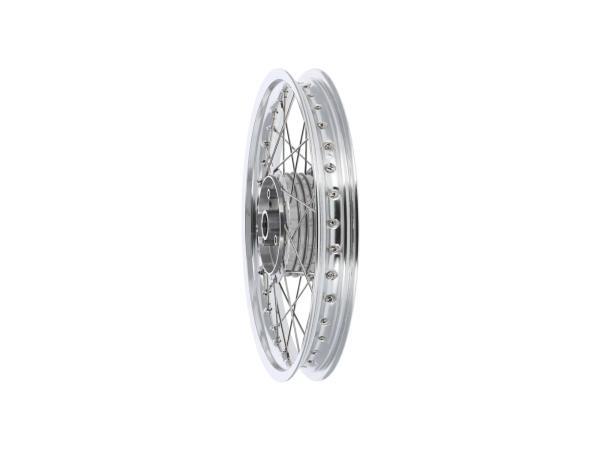 """Speichenrad 1,6 x 16"""" Alufelge poliert + Edelstahlspeichen, mit  verstärkter Radhülse - für Simson S50, S51, KR51 Schwalbe, SR4,  10068379 - Bild 1"""
