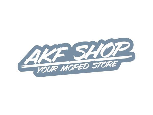 """10070124 Aufkleber - """"AKF Shop - your moped store"""" Grau/Weiß, konturgeschnitten - Bild 1"""