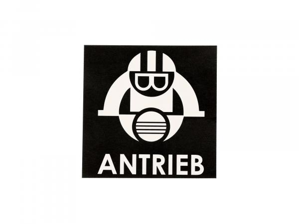 """10068905 Aufkleber - """"ANTRIEB-Männchen"""" Schwarz, Quadrat - Bild 1"""
