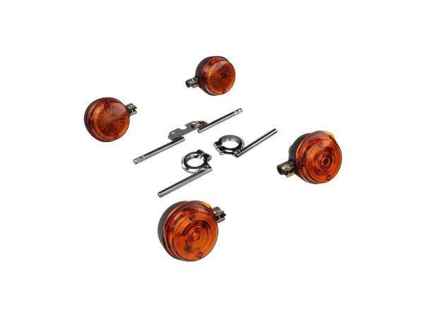 Set: 4 Blinker rund komplett inkl. Blinkerträger chrom - für Simson S50, S51, S70,  GP10000496 - Bild 1