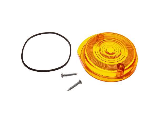 Blinkerkappe vorn, rund, orange inkl. Gummidichtring + Schrauben - Simson S50, S51, S70, SR50, SR80 - MZ ETZ, TS,  10067491 - Bild 1