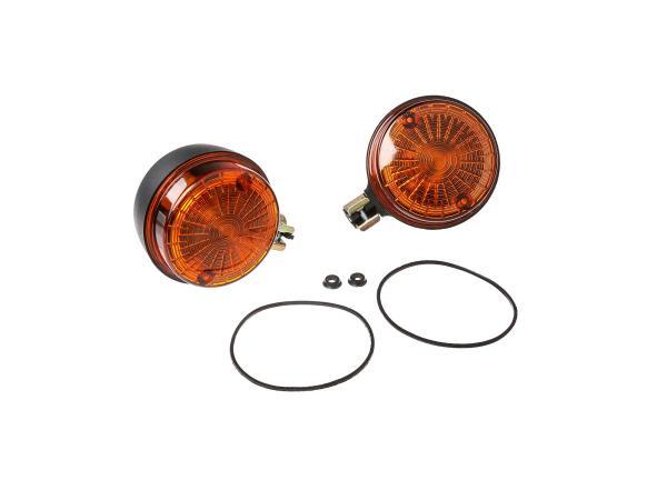 Set: 2 Blinker hinten, rund in Schwarz mit orangenem Glas - Simson S50, S51, S70, SR50, SR80, MZ ETZ, TS,  10065928 - Bild 1