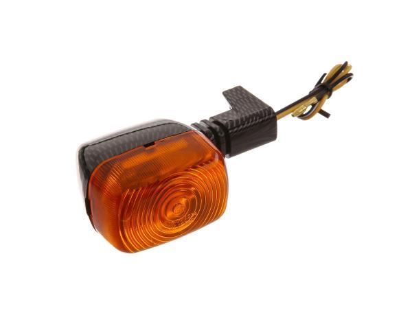 Blinker in Carbonoptik mit orangenem Glas - Simson S53, S83, SR50, SR80,  10001591 - Bild 1