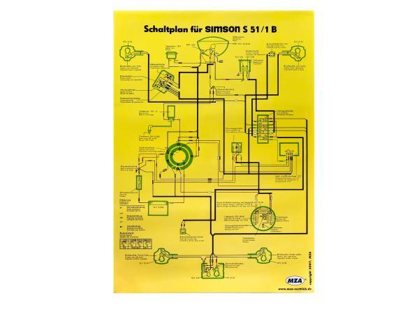 Schaltplan Farbposter (40x60cm) Simson S51/1B 12V,  10005647 - Bild 1