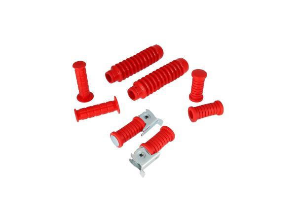 Set: Lenkergriffe + Fußrasten + Faltenbalg in Rot - für Simson S50, S51, S70, S53, S83,  GP10000286 - Bild 1