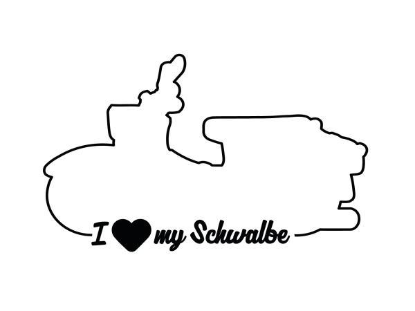 """10066280 Aufkleber - """"I LOVE MY SCHWALBE"""" Folienplot Schwarz, mit Übertragungsfolie - Bild 1"""