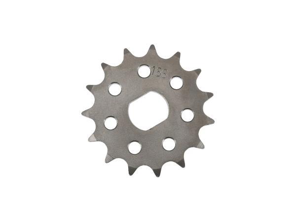 Ritzel RESO, kleines Kettenrad, Tuning 15 Zahn - für Simson S51, S70, S53, S83, KR51/2 Schwalbe, SR50, SR80,  10062801 - Bild 1