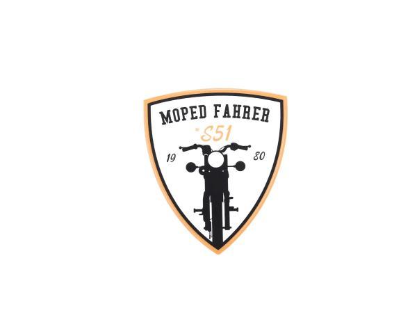 "10066332 Aufkleber - ""Moped Fahrer #S51"" Gelb/Weiß/Schwarz, Wappen - Bild 1"
