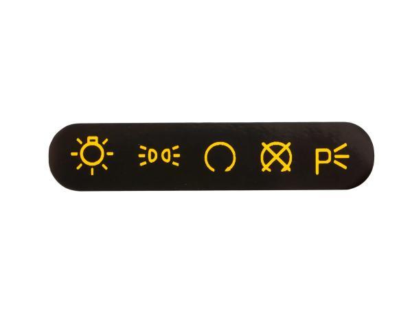10067980 Schriftzug (Folie) gelb/schwarz, Symbole für Armaturenträger/Zündschalter - für MZ ETZ - Bild 1