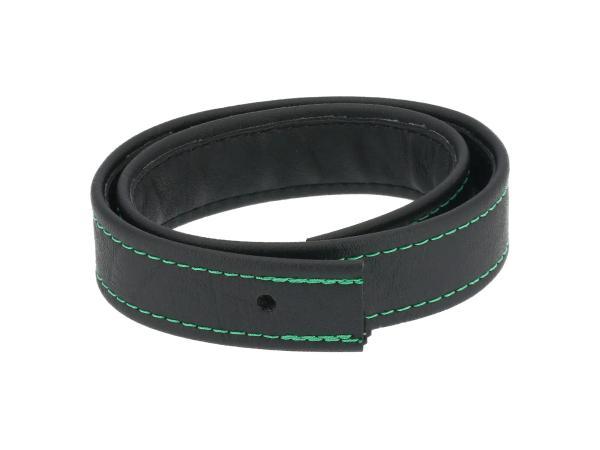 10062747 Halteriemen für Sitzbank schwarz mit Ziernaht in Grün - Handarbeit - Bild 1