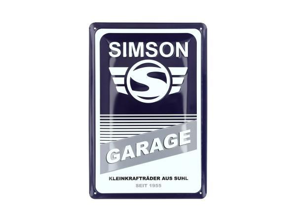 """Blechprägeschild """"SIMSON-Garage"""" 20x30 cm, blau/weiß,  10070951 - Bild 1"""