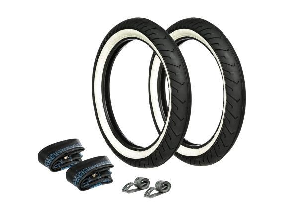 GP10000171 Set: 2x Reifen Weißwand MITAS 2.75 x 16 + 2x Schläuche + 2x Felgenband - Bild 1