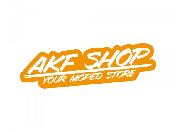 "10070125 Aufkleber - ""AKF Shop - your moped store"" Orange/Weiß, konturgeschnitten - Bild 1"
