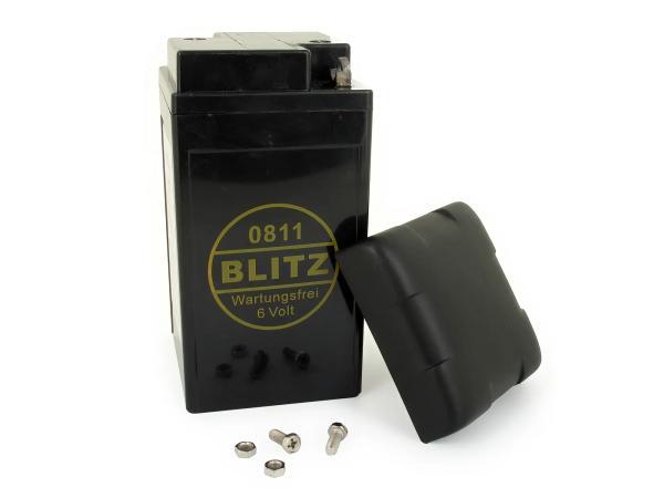 10059862 Batterie - 6V 12Ah BLITZ (Gel - wartungsfrei) mit Deckel - Simson AWO, MZ, EMW - Bild 1