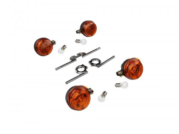 Set: 4 Blinker rund komplett, + 12V Lampen und Blinkerträger chrom - für Simson S50, S51, S70,  GP10000499 - Bild 1