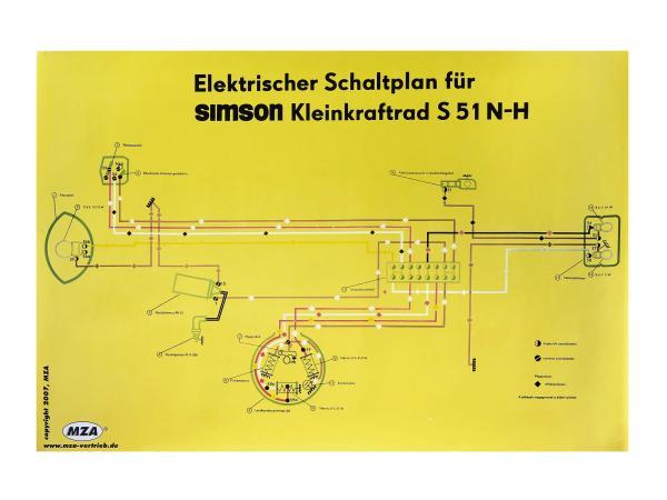 Schaltplan Farbposter (69x49cm) Simson S51 N-H,  10007830 - Bild 1