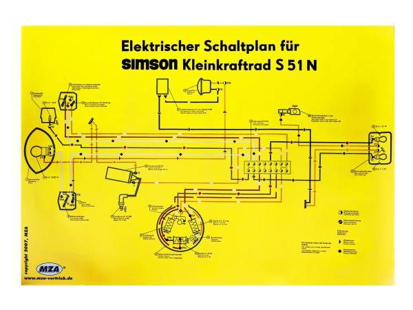 Schaltplan Farbposter (69x49cm) Simson S51 N,  10007834 - Bild 1