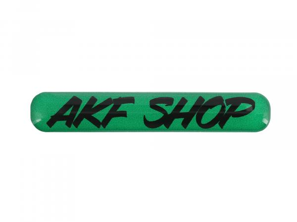"10070613 Gelaufkleber - ""AKF Shop"" grün/schwarz - Bild 1"