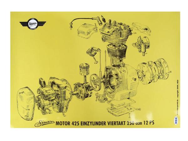 Explosionsdarstellung Farbposter (72 x 50cm) Simson AWO 425 Motor 425 Einzylinder Viertakt 250ccm 12 PS,  10016455 - Bild 1