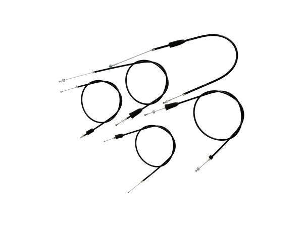 Set: 5 Bowdenzüge schwarz, Flachlenker - MZ TS 125, 150,  10069820 - Bild 1