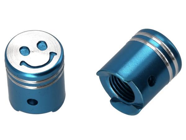 Set: 2x Ventilkappe Kolben, Blau eloxiert,  10065876 - Bild 1