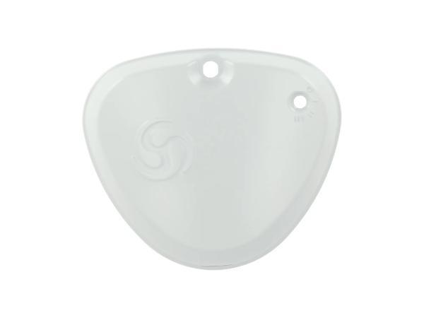 """Seitendeckel eckig, links, grundiert, mit """"Wirbel-Logo"""" - Simson S50, S51, S70,  10071070 - Bild 1"""