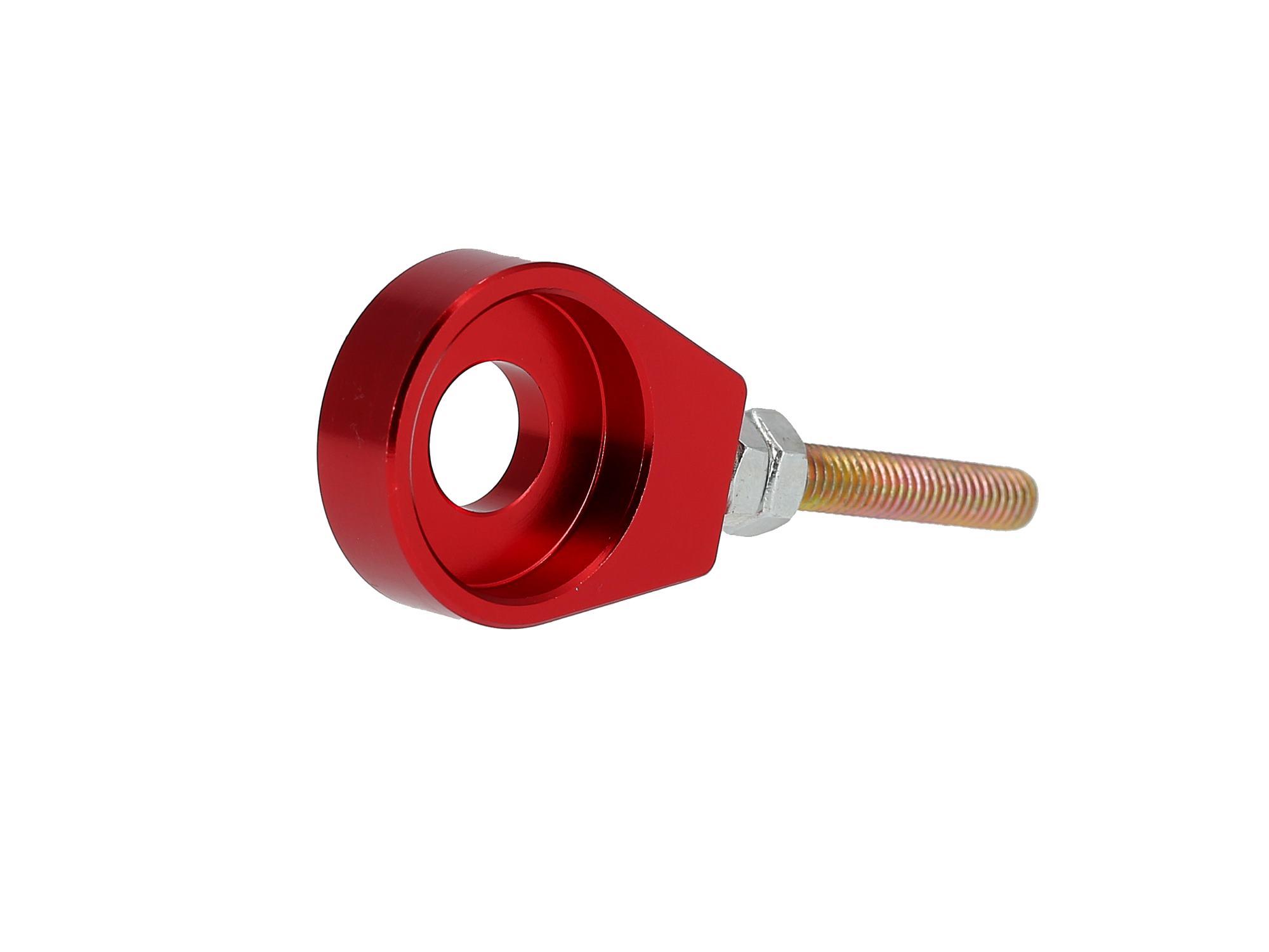 Set: 2x Kettenspanner für Schwinge, Aluminium Rot eloxiert - Simson S51, S50, SR50, Schwalbe KR51, SR4, Art.-Nr.: 10069430 - 360° Bild