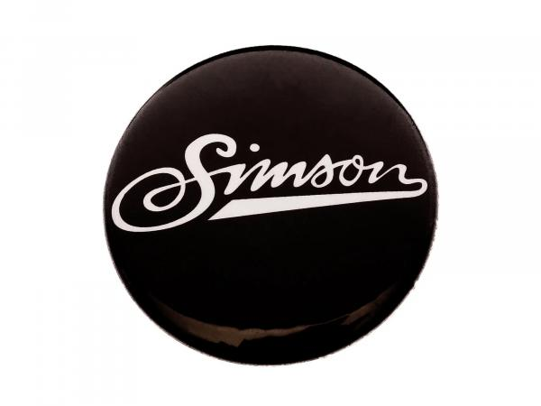 """Button, Anstecker """"Simson"""" weiche Schrift, Ø25 mm,  10067758 - Bild 1"""