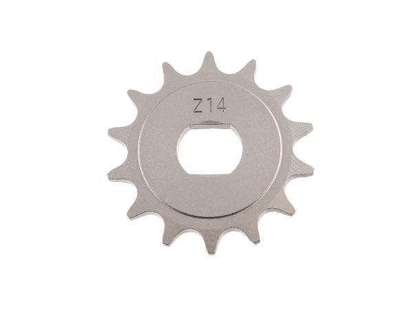 Ritzel, kleines Kettenrad, 14 Zahn - für Simson S51, S70, S53, S83, KR51/2 Schwalbe, SR50, SR80,  10000483 - Bild 1