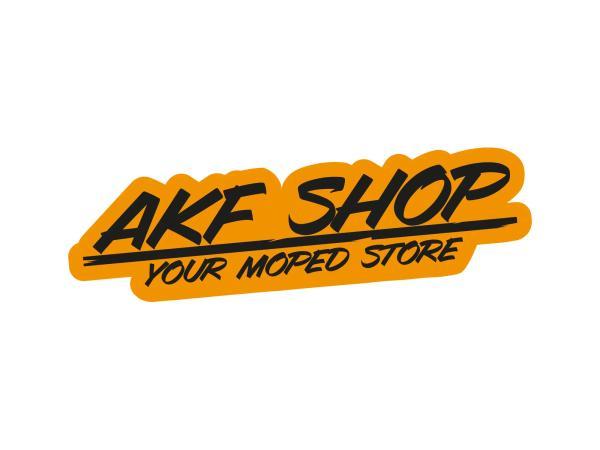 "10070126 Aufkleber - ""AKF Shop - your moped store"" Orange/Schwarz, konturgeschnitten - Bild 1"