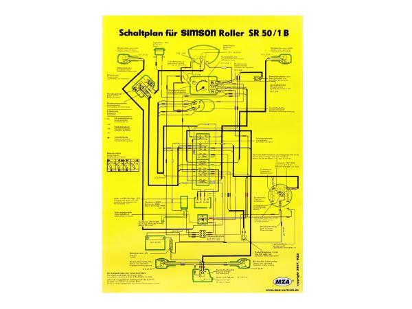Schaltplan Farbposter (40x57cm) Simson SR50/1 B,  10007839 - Bild 1