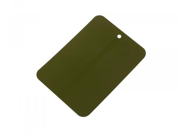 Farbmuster lackiert auf Blech, Leifalit, Olivgrün, matt, für NVA Modelle,  10062139 - Bild 1