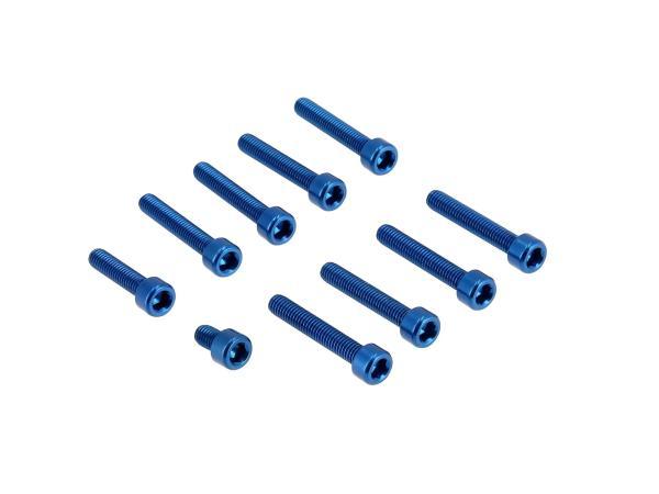 Set: Aluminium-Schrauben, Innensechskant in Blau für Kupplungs- und Lichtmaschinendeckel Motor S51,  10070568 - Bild 1