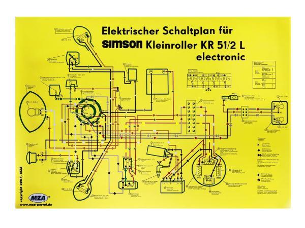 Schaltplan Farbposter (69x49cm) Schwalbe KR51/2L electronic (beidseitig Glanzcello, schmutzabweisend),  10061670 - Bild 1