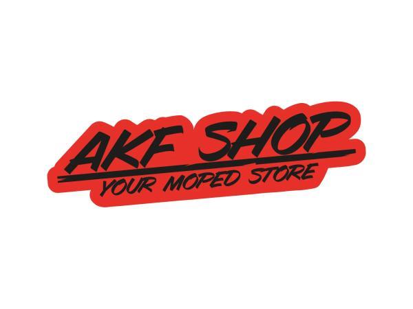 """10070128 Aufkleber - """"AKF Shop - your moped store"""" Rot/Schwarz, konturgeschnitten - Bild 1"""