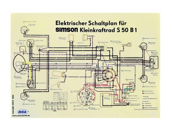 Schaltplan Farbposter (69x49cm) Simson S50 B1,  10007831 - Bild 1